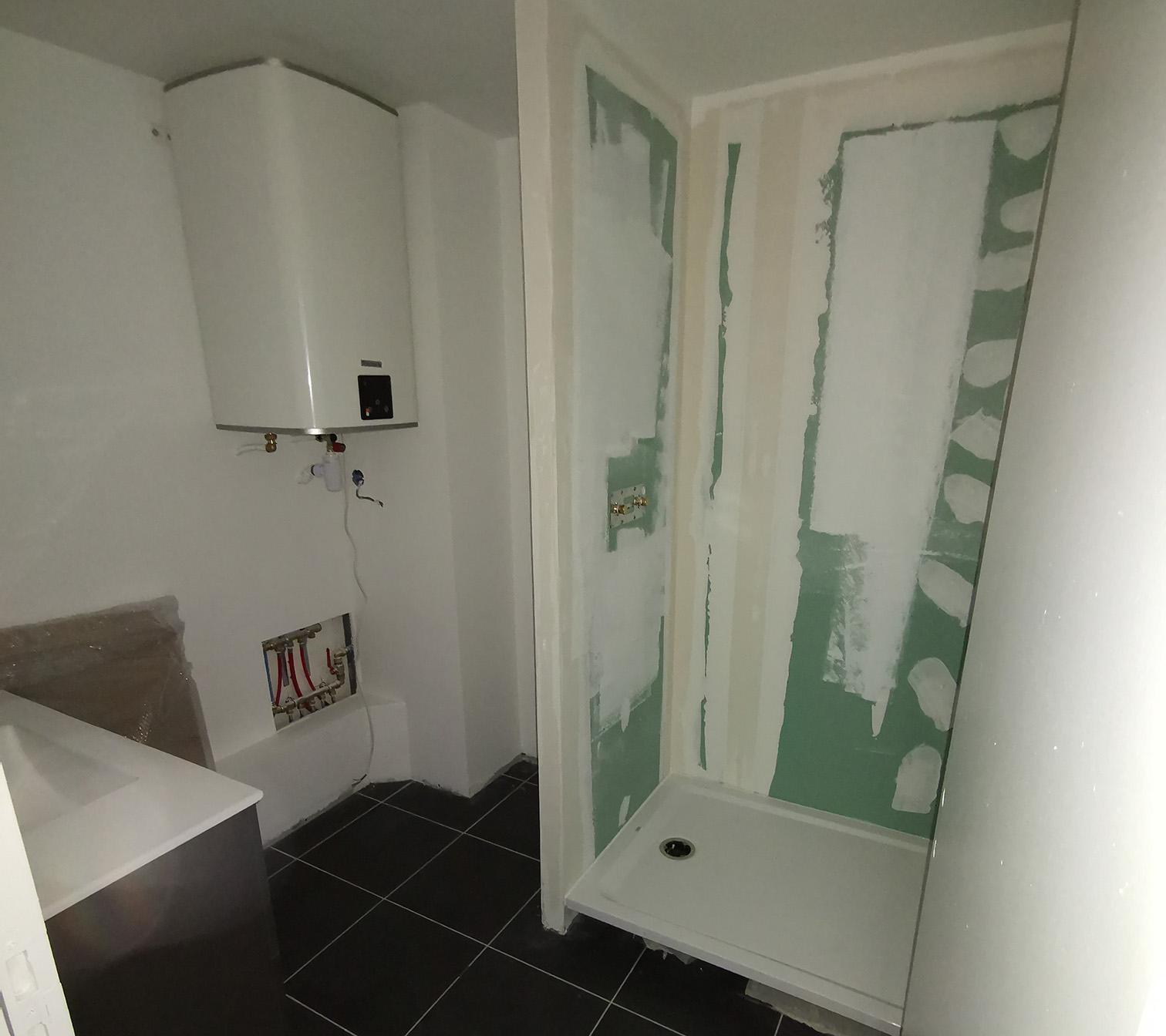 Création salle de douche - PENDANT : pose sanitaires