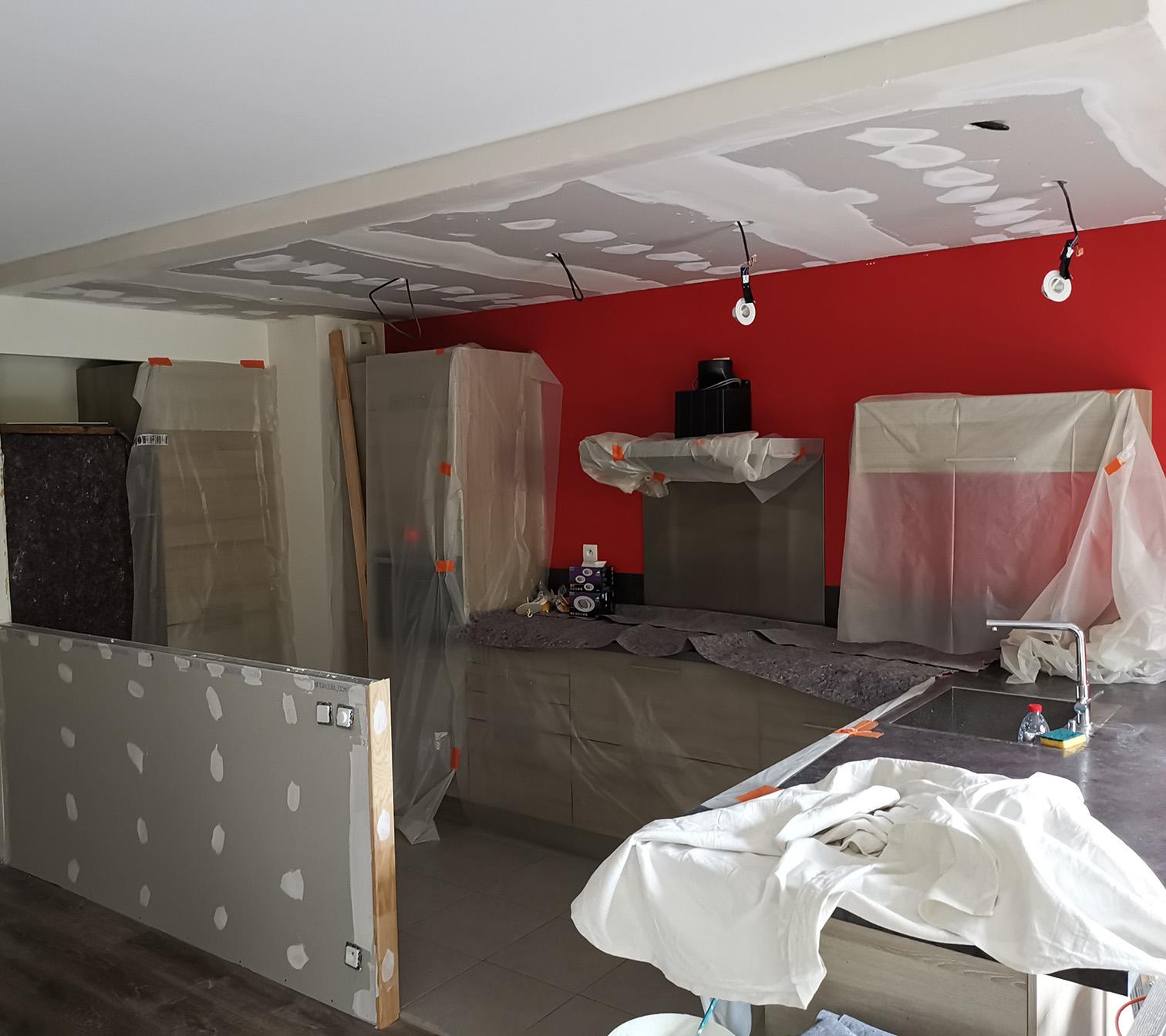 PENDANT : création faux-plafond et cloison basse